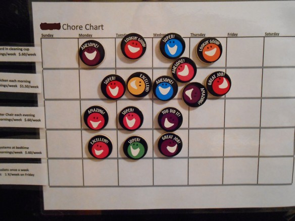 Chore Chart - grid for the week...